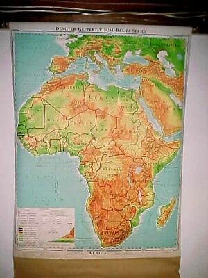 1964 Denoyer-Geppert AFRICA J4vr pull down school room visual relief wall map