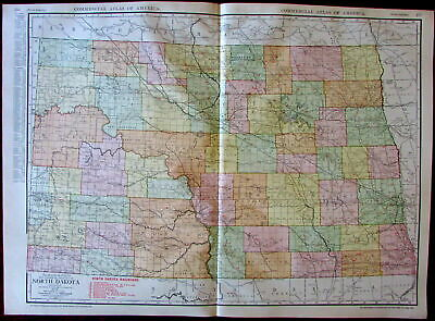 North Dakota state by itself c.1913 huge Rand McNally detailed map