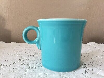 #2. HLC Genuine Fiesta Ware Turquoise Mug Cup Tom & Jerry Handle