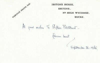 DAME REBECCA WEST Her signed card. Return of the Soldier. Had son with H G Wells