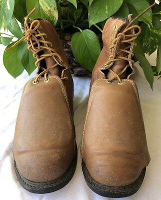 b17c8c53a33 Iron Age Mens Brown Leather Met Guard Work Boots Ground Breaker Steel Toe