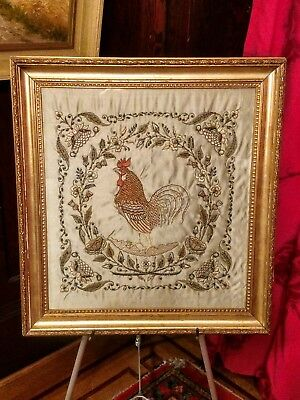 Georgian Silk Beaded Needlework Rooster Thistle Flowers French or Belgian
