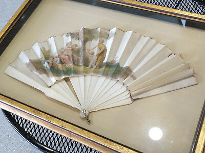 18th Century Hand Painted French or Italian Silk Fan Framed