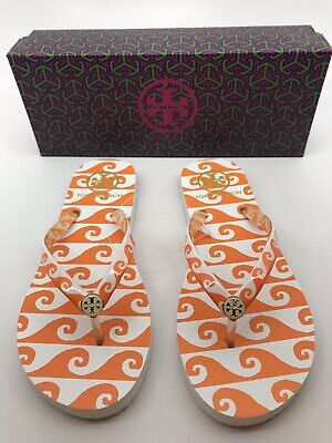 1f5fe2895 Authentic Tory Burch Printed Thin Flip Flop Wave Print Orange Groove Size 7  NEW