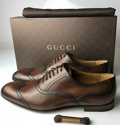 1a6c1ea330c GUCCI BETIS GLAMOUR Cocoa Brown Classic Dress Lace-Up Shoes Size G09 ...