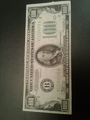 100 Dollar Bill 1934 B Federal Reserve Note  Green Seal  One Hundred Dollars