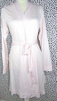 UGG Women's Aldridge Mini Stripe Seashell Pink White Short Robe Size Large NEW