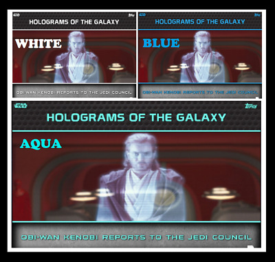 TOPPS STAR WARS CARD TRADER HOLOGRAMS OF GALAXY Obi-Wan Set (3) AQUA WHITE BLUE