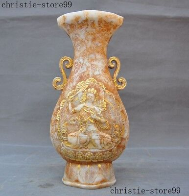 Rare Chinese Old jade Gilt Carved Manjushri sword tara Zun Bottle Pot Vase Jar