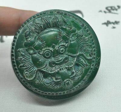 Chinese ancient old hard jade hand-carved pendant necklace ~Dragon   M08