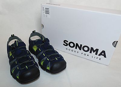 f3039dbdef6c SONOMA Goods for Life Boys Youth Size 2 Sport Sandals Navy Lime Green Shoes