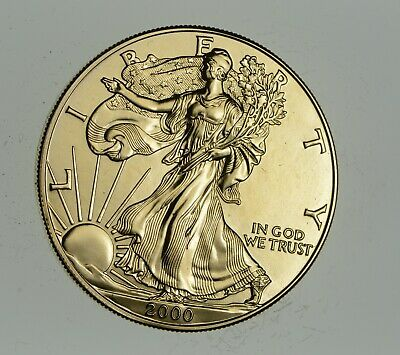 2000 24 Kt Gold Plated American Silver Eagle - Beautiful Coin! 1 Oz .999 *884
