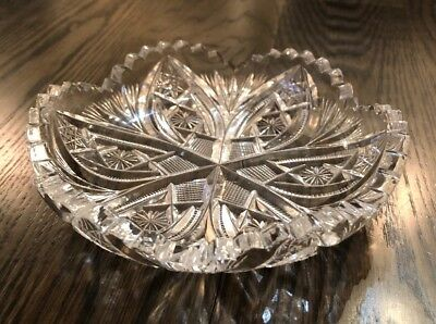 Gorgeous Hand Cut Leaded Crystal Candy Dish, American Brilliant 1850-1910 Period