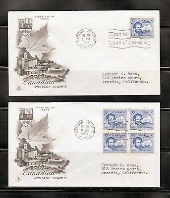 1963 Canada 2 x FDC Cover 412, Block of 4, Single - Arctic Explorer M.Frobisher