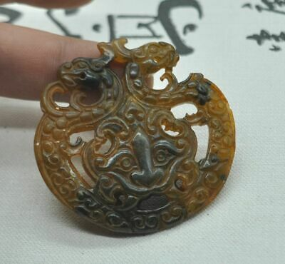 Chinese ancient old hard jade hand-carved pendant necklace ~Amulet  M08