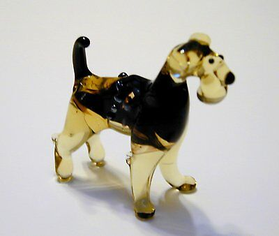 Funny Airedale Terrier - Hand Made Art Glass Dog Breeds figurines