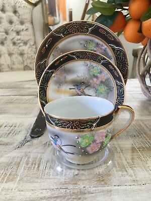 Superb Hand Decorated Birds Oriental Cup And Saucer Trio.