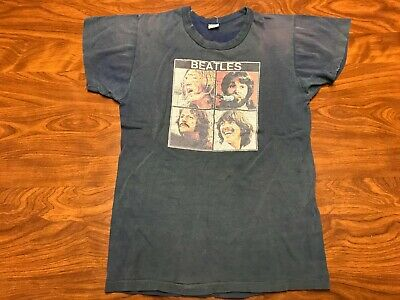 Vintage Original 70's Blue The Beatles Lennon Mccartney Tour Shirt Size 2Xs/xs