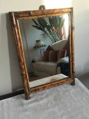 ,Antique Vintage Very Distressed Bamboo Framed Wall Mirror