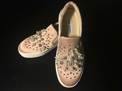 b46c5454204 Steve Madden Glamour Beaded Satin Slip-On Sneaker Padded BLUSH 7M Used