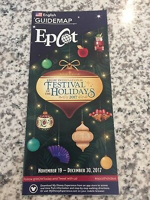 Walt Disney World Epcot Festival Of The Holidays Guide Map 2017 - New