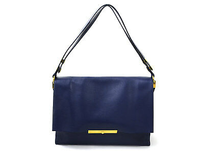 Auth CELINE Shoulder Bag Blue/Gold Leather/Goldtone - 95524