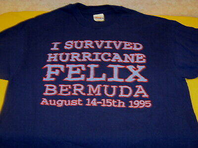 c9e1aaf0 BERMUDA I Survived HURRICANE FELIX - August 14-15th 1995 - Purple T-Shirt