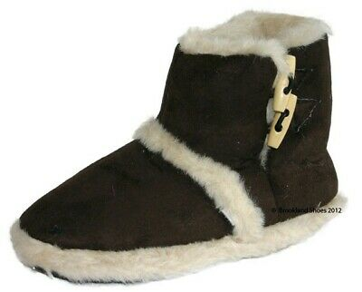*SALE* Womens Ladies Coolers Furry Toggle Ankle Boot Slipper Size Medium Brown