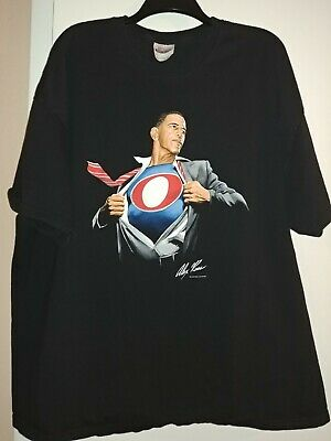 BARACK OBAMA SUPERMAN SHIRT 3XL Black 2008  ALEX ROSS EUC! Graphitti Hanes