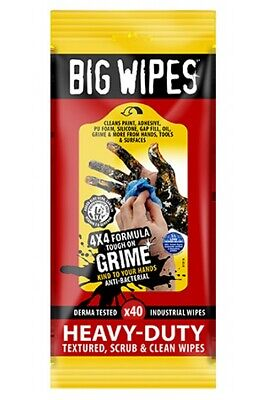 Big Wipes Heavy Duty Clean Remove Paint Grime Oil Silicone Hands Tools Surfaces