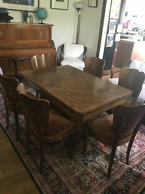 Art Deco dining table (extending) and 6 dining chairs