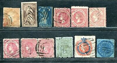 Australia Victoria Throne Beaded Ovals Qv Imperf Perf Rpouletted Unsorted Used