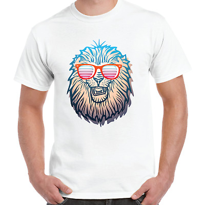 Cool T-Shirts Retro 80s Sunglasses Lion Head Classic Party Novelty T-Shirt Gift