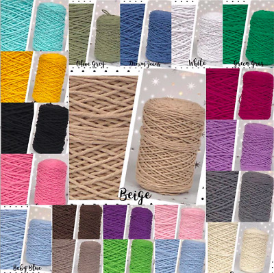 3mm Single Twisted Pipping Cotton Cord String Craft Sewing Macrame Home DIY