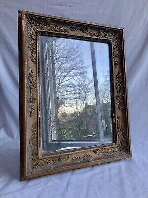 Antique French Early-Mid 19th Century Gilt Framed Foxed Mirror. c1840