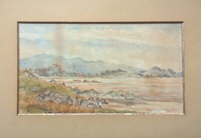 Original Signed Antique Watercolour Painting Lake and Mountain Landscape