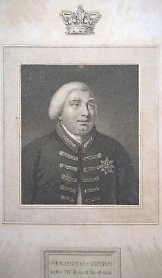 RARE 1814 Antique Stipple Engraving King George III, S Freeman After A Chalon