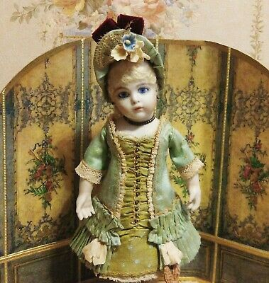 "Antique style tiny 8 "" mignonette Bru Jumeau doll silk dress , underwear , hat"