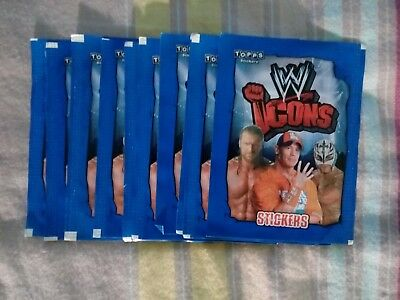 Lot de 10 pochettes stickers Topps no panini WWE Icons