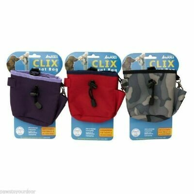 Clix Dog Treat Snack Training Bag Pouch With Belt Attachment And Clip 3 Colours