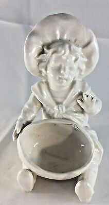 Victorian White Porcelain Child with Bowl Spill Vase