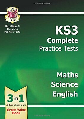 KS3 Complete Practice Tests - Maths, Science & E by CGP Books New Paperback Book