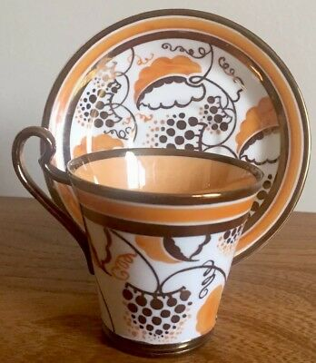 Grays Pottery Copper Lustre Art Deco Coffee Cup and Saucer Suzie Cooper