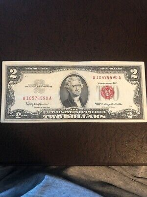 1963 Series $2 Two Dollar Legal Tender United States Red Seal Note Bill Crisp
