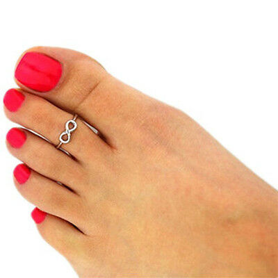 Fashion Women Simple Retro Infinity Design Adjustable Toe Ring Foot Jewelry TO
