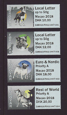 Faroe Islands 2018 MNH - Dogs, Macao 2018 - franking labels strip of 4 stamps