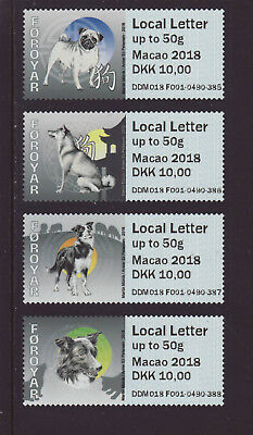Faroe Islands 2018 MNH - Dogs, Macao 2018 for Local Post - franking labels strip