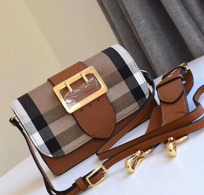 NWT BURBERRY CANVAS Check Peyton Wristlet Crossbody Bag  682729e37ec75