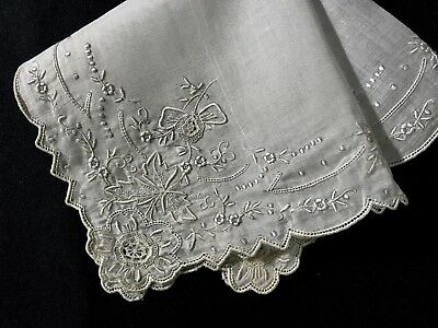 Bridal Appenzell Embroidery Miniature Tenerife & French Knots Handkerchief 11""