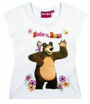 Girls Kids Official Masha And The Bear White Short Sleeve T Shirt Top